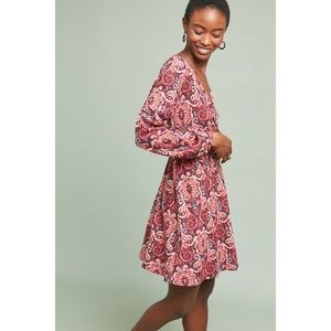 anthropologie long sleeve wrap dress